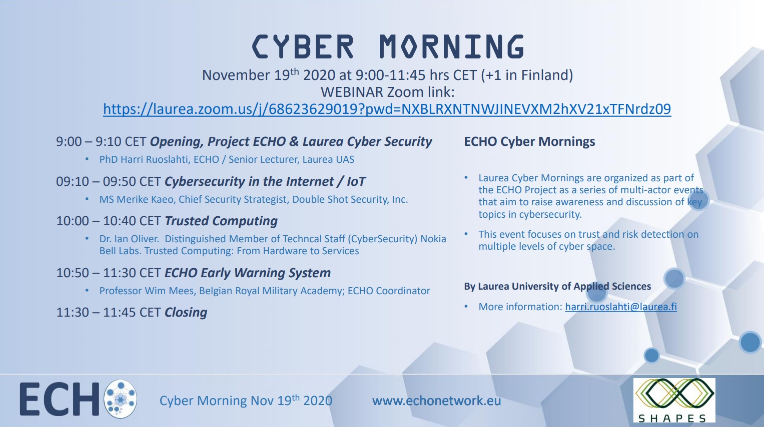 Layrea Cyber Morning Event, November 19, 2020 - Agenda and General Information Picture